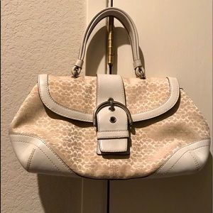 Authentic Coach purse with leather trim